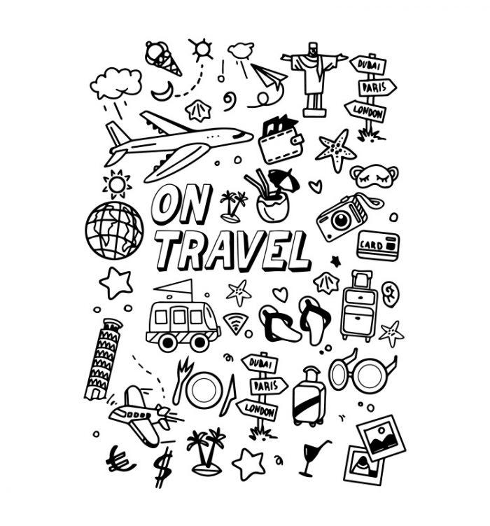 Travel doodle t shirt
